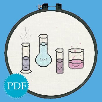 Kawaii cross stitch pattern PDF kawaii chemistry beaker glass. $3.50, via Etsy.