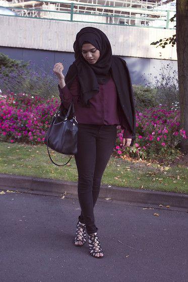 Saima Chowdhury - Al Madina Hijabs Black Scarf, Primark Berry Shirt, Topshop Black High Waisted Jeans, H&M Bag, New Look Shoes, Topman Leather Sleeve Baseball Jacket - Anniversary
