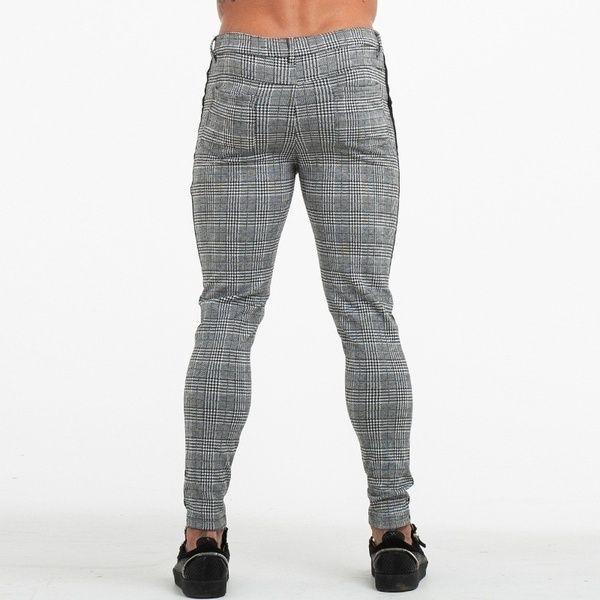 Men Plaid Check Jogger Jogging Sport Pants Slim Fit Casual Skinny Harem Trousers