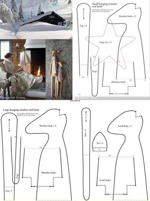 Moldes para hacer renos grandes con tela y fieltro03