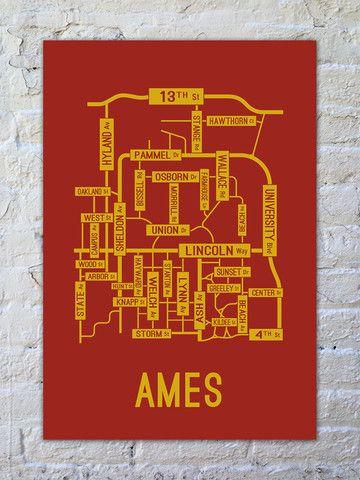 Ames, Iowa Street Map Print