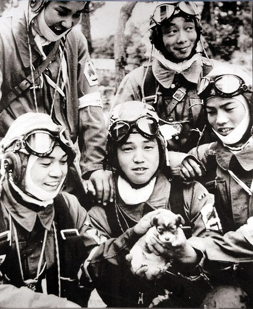 Kamikaze pilots playing with a puppy before their flights, 1945