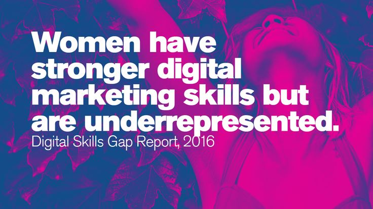 Women have stronger digital marketing skills but are underrepresented.