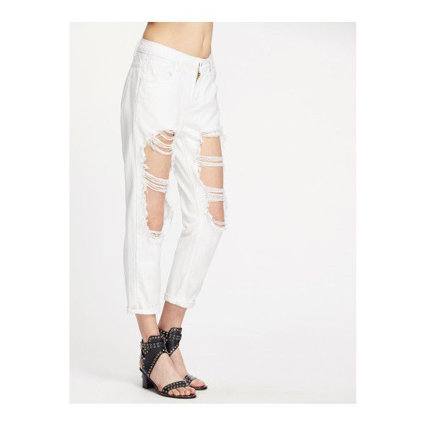 SheIn(sheinside) Extreme Distressed Boyfriend Jeans ($20) ❤ liked on Polyvore featuring jeans, white, destroyed jeans, destructed jeans, distressed jeans, white jeans and white ripped jeans