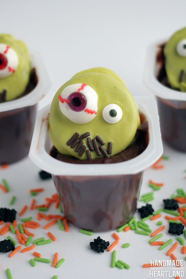 zombie halloween pudding cups snackpackmixins cbias shop - Pudding Halloween Desserts