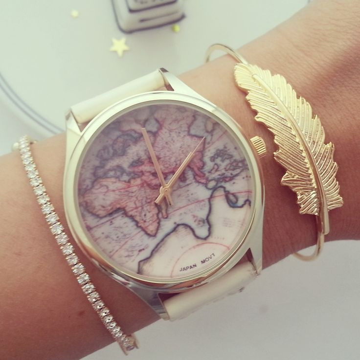 Antique world map watch in off white or brown