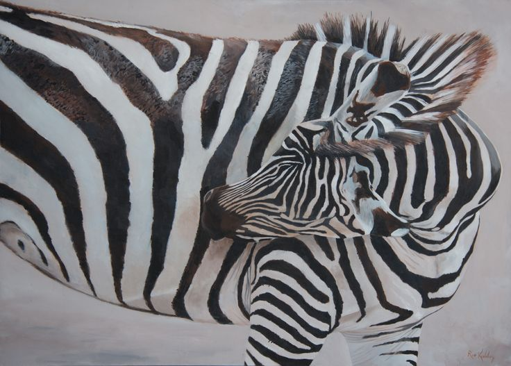 Zebra painted in oils on fine cotton duck.  I hope this painting creates some confusion as the stripes change direction as the zebra's head moves across the animal's body. The zebra's ears add to the ocular confusion.