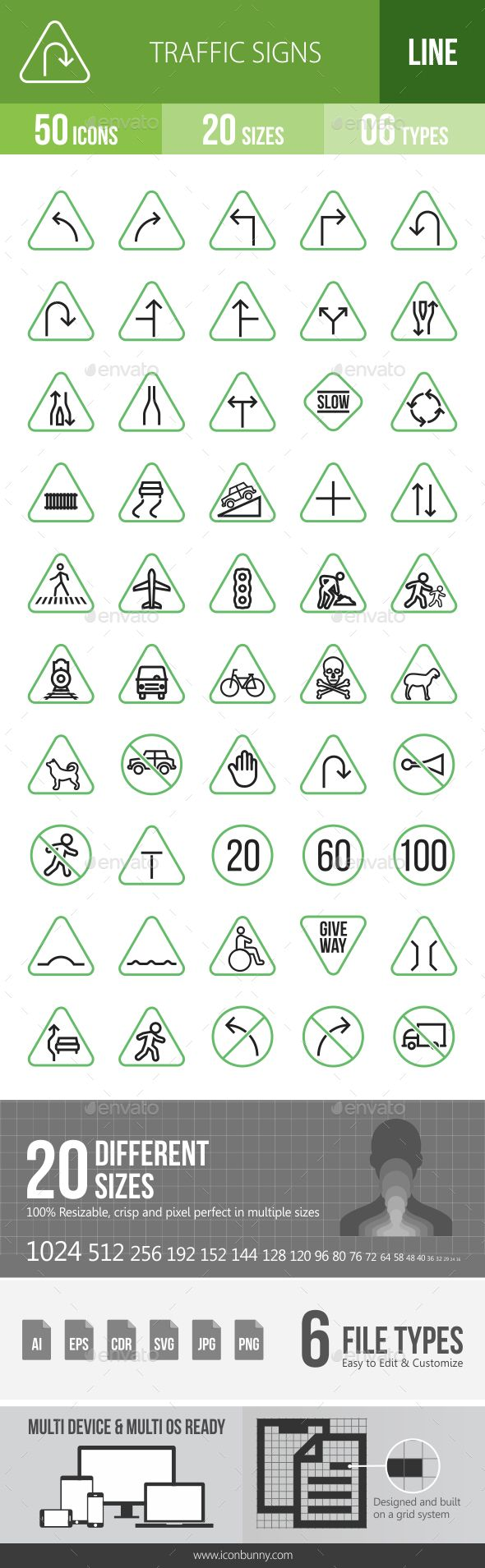 50 Traffic #Signs Green & Black Line #Icons - Icons