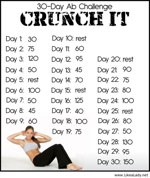17 best ideas about crunch challenge on pinterest 30 day squat challenge 30 day workout. Black Bedroom Furniture Sets. Home Design Ideas