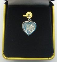 White Gold Heart Lourdes Apparition Pendant / Medal .