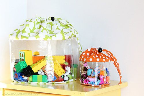 DIY these storage bags in whatever size you need them. | 49 Clever Storage Solutions For Living With Kids