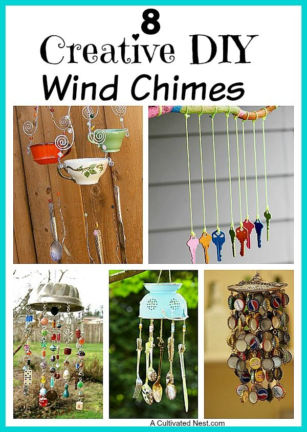 It's so easy to make your own cool wind chimes! Check out these 8 Creative DIY Wind Chime Ideas. There's nothing like listening to the soft tinkle of wind chimes on a breezy day! You can buy all kinds of wind chimes but it's fun to make your own!   upcycle, repurpose, recycle, reuse, DIY projects, crafts