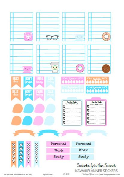 Kawaii Planner Stickers  | Free printable download for personal use only.