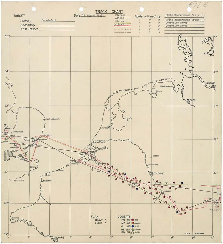 World War II bomb tracking chart: Schweinfurt Raid against Germany 8/17/43: Bombs Track, Bombs Group, 306Th Bombs, Schweinfurt Memories, Track Charts, B17 Flying, Flying Fortress, Lips Sinks, War