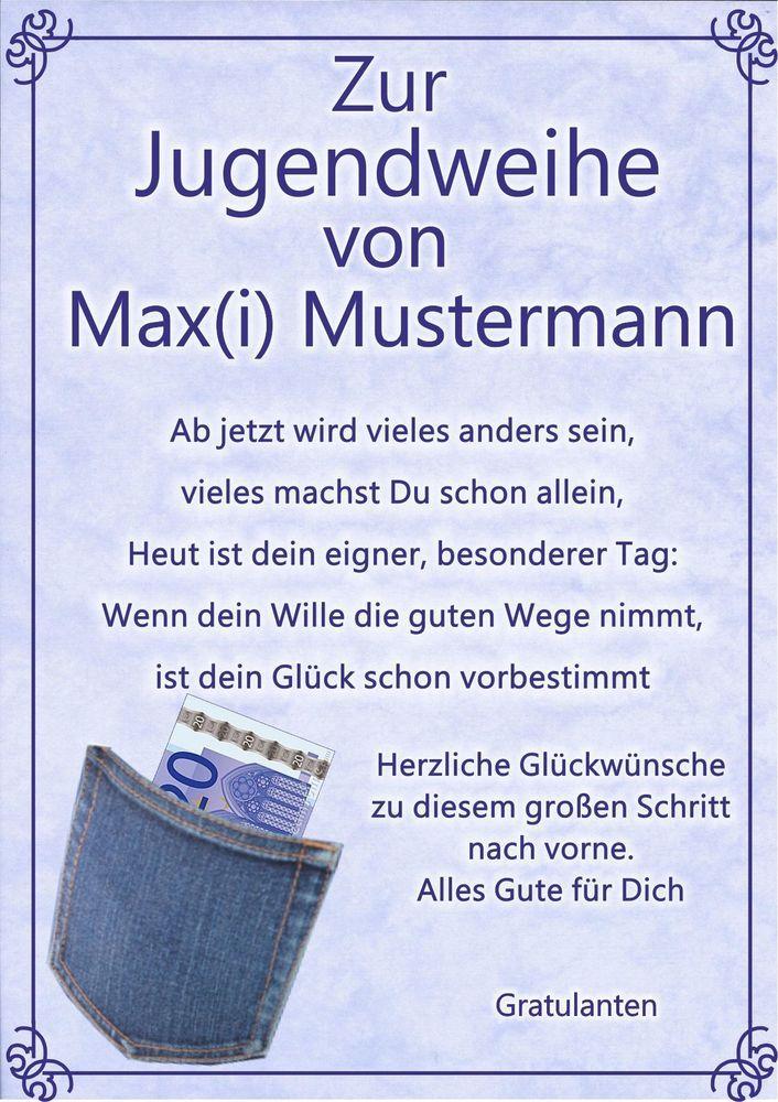 Jugendweihe Urkunde Zur Jugendweihe Geschenk Gluckwunsch Karte