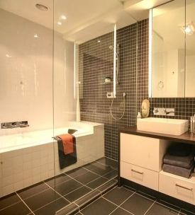 dark tile - 2nd bathroom