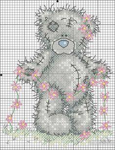 Мишка Тедди - схема вышивки крестом