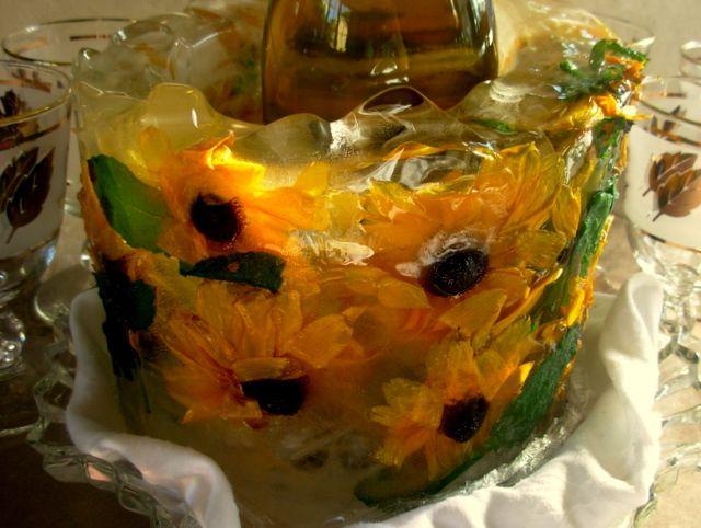 sunflowers in ice