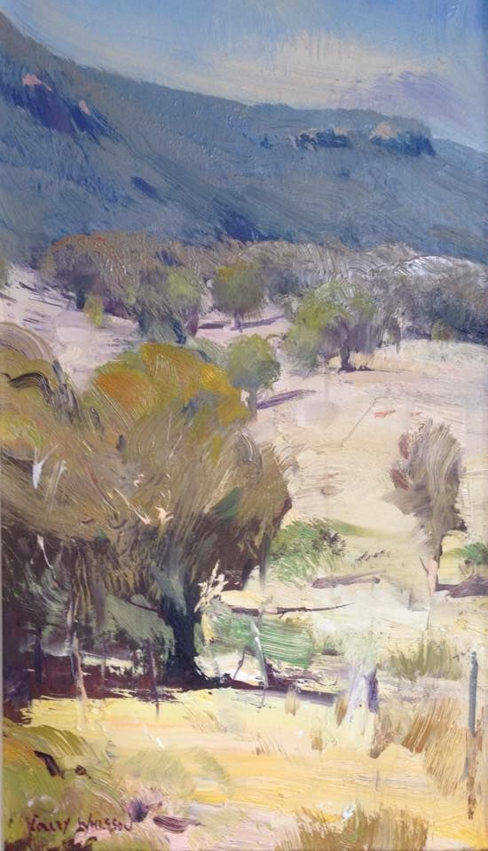 """Colley Whisson     Tumut Landscape, Aust Oil 12""""x 6"""
