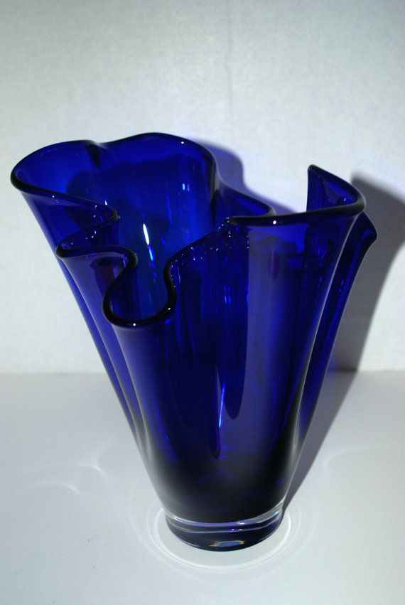 cobalt blue glass vase free form vase by on etsy