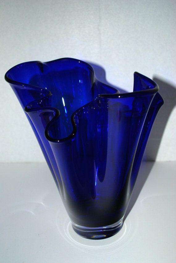 cobalt blue glass vase  free form vase by capecodgypsy on Etsy, $79.00