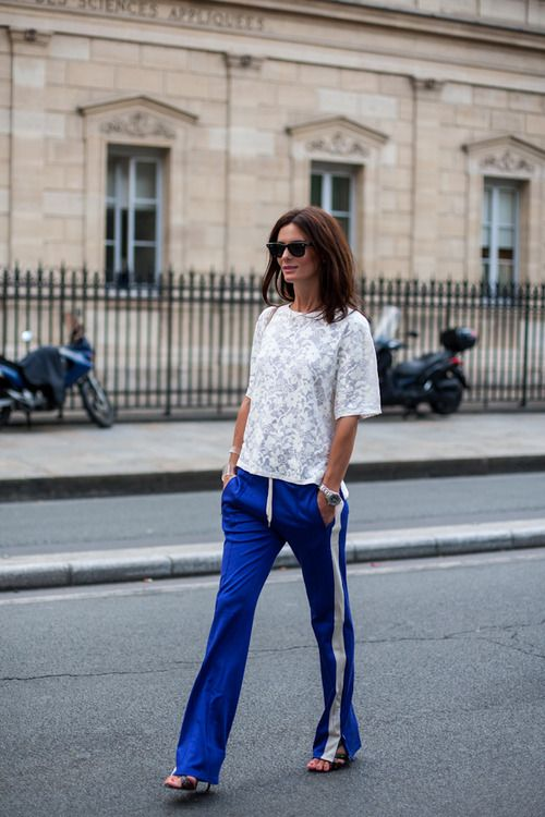 topshop:    We think these bright blue tracksuit bottoms and these sandals make for a great combination!