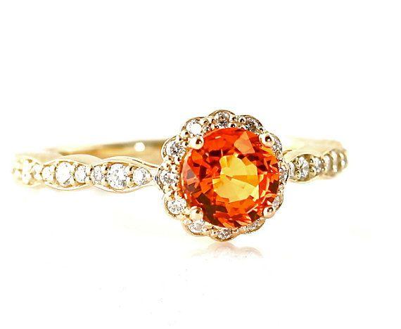 14K Orange Sapphire Ring Sapphire Engagement Ring 18K by RareEarth, $1018.00