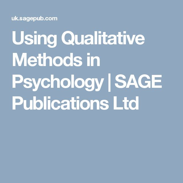 Using Qualitative Methods in Psychology | SAGE Publications Ltd