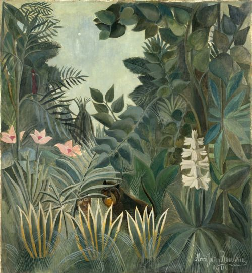 dionyssos:  Henri Rousseau The equatorial jungle http://ohlesjolieschoses.tumblr.com/post/117941196972/dionyssos-henri-rousseau-the-equatorial