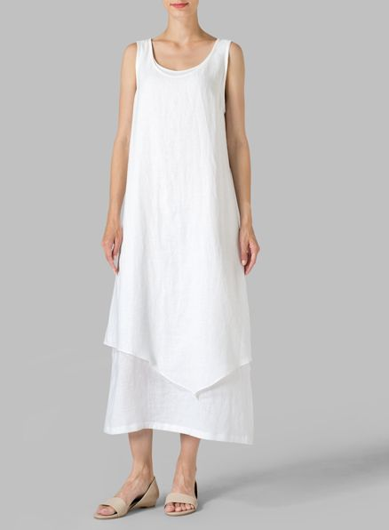 White Linen Double Layered Long Dress  Casual cool, simple and regular loose fitting lines of this VIVID Linen dress reveals a slash of colour with layered construction. Perfect for everyday activities.