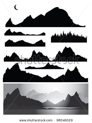Silhouettes of mountain for design, all elements of rocks and forest  are seamless by rvika, via ShutterStock - (Paint Color behind)