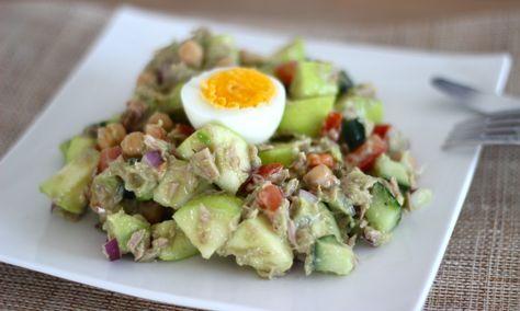 lunchsalade met appel en tonijn
