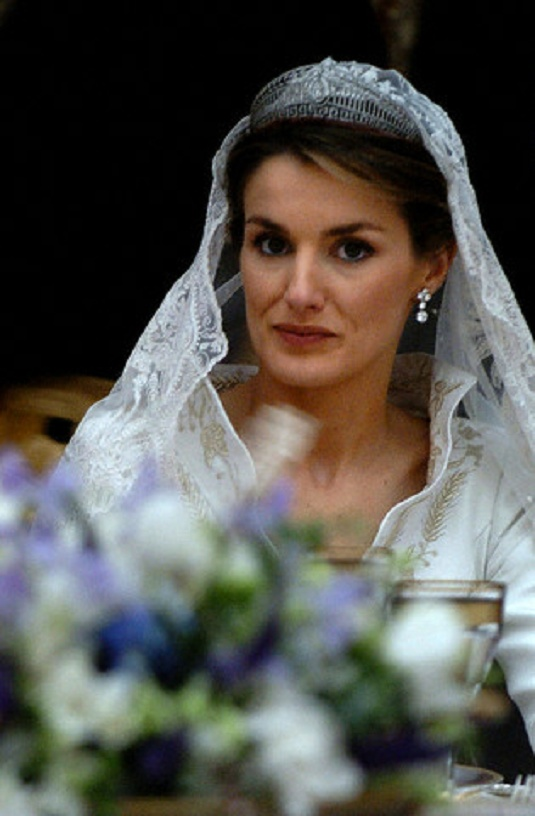 Letizia Ortiz, Princess of Asturias, sits during the wedding banquet at the Royal Palace following her marriage to Spanish Crown Prince Felipe in Madrid on 22 May 2004