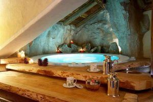 indoor hot tub under slanted ceiling