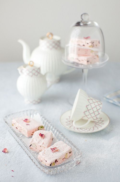 Cranberry and Pistachio Nougat with Rose Water