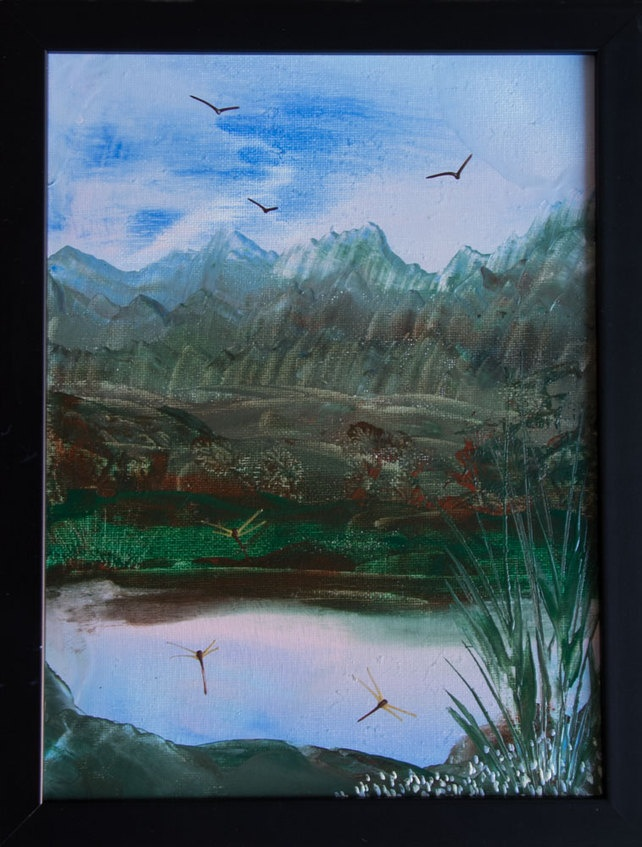 The Pond - Original, Framed Encaustic Art Painting on Canvas £35.00