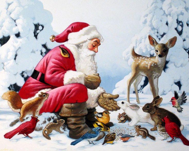 Скачать обои  Новый год, Рождество, Санта-Клаус, лесные друзья, Tom Newsom 1280x1024