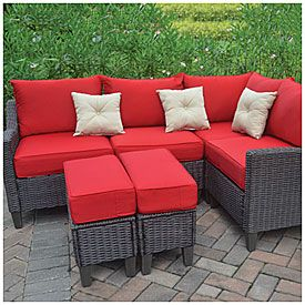 Wilson & Fisher® Oasis Cushioned Resin Wicker 6-Piece Seating Set at Big Lots.