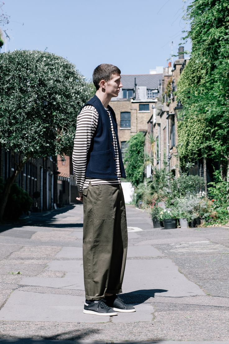 Robin from HQ wearing our Chore Waistcoat, Home Crew and Fatigue Pants