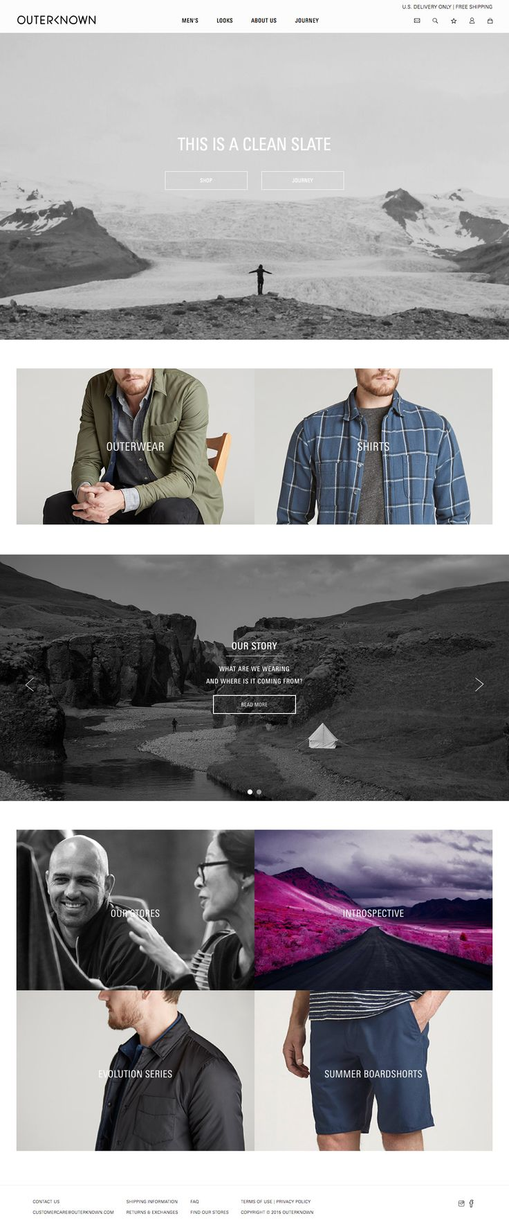 Outerknown Desktop Home Page Kelly Slater's new sustainable fashion brand Outerknown has finally launched. Their eCommerce website is very nice indeed, one of the Cleanest examples of eCommerce design out there.  - http://www.cartrepublic.com/gallery/2015/07/outerknown-desktop-home-page/