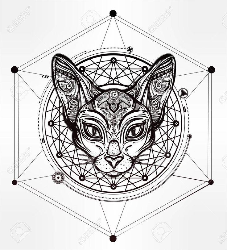 la cabeza de la vendimia del gato adornado con los ornamentos y elementos de diseño geométrico el origen Foto de archivo