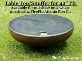 Fire Pit 42 Inch Steel Table Top Shipped With Firepit Only Snuffer Metal Bowl Cover