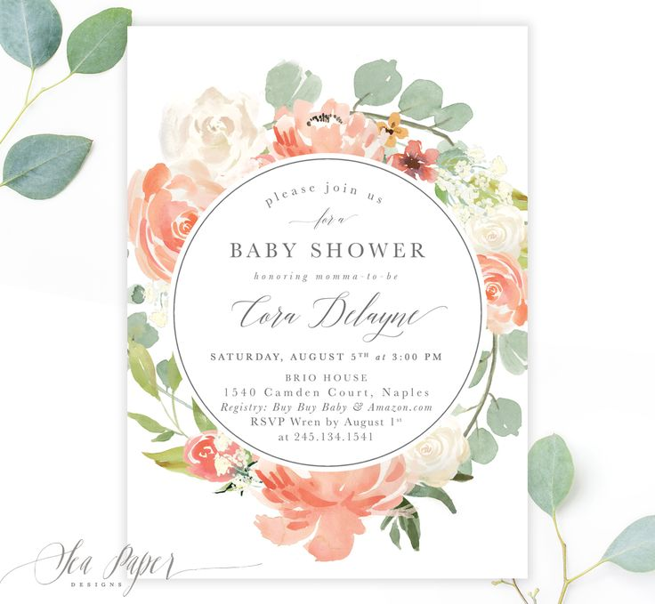 The Cora Baby Girl Shower Invitation features gorgeous blush, peach & white modern garden watercolor florals & calligraphy lettering. Choose a scripture, Baby's Name your own text or a full-sized photo for the back!