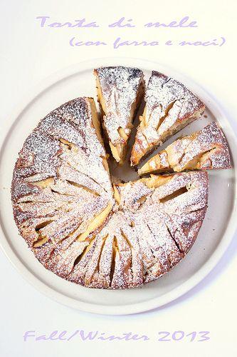 torta di mele al farro e noci