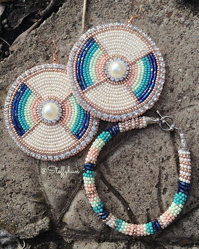 'Where the Sea Hits the Sand' - Just sharing a pair of custom ordered earrings to match her bracelet. #SteffybunDesigns