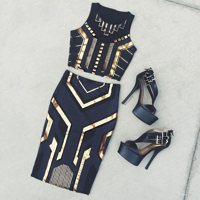 Love this outfit for a night out.......Would pair it with a fierce pair of gold shoes.