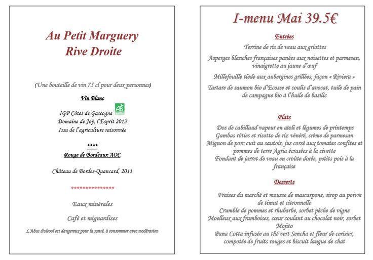 Restaurant Paris : Offre de menu tout compris ! #imenu #aupetitmargueryrivedroite #restaurantparis #alacarte #menu