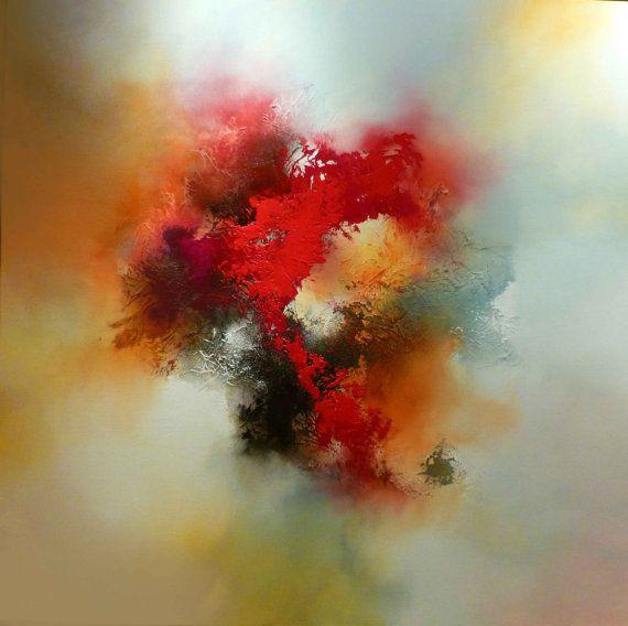 Lona grande mezclado pintura abstracta los medios de