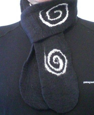 Merino Felted Scarf Skinny Swirls For gift Him /// Ariane Mariane /// Great gifts for men on the TAFA Market: http://www.tafaforum.com/market/men/