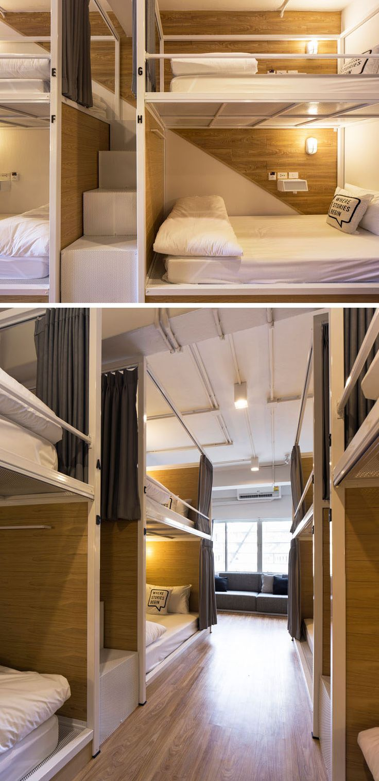 In this modern Bangkok hostel, the bunks have stairs between them instead of a ladder, allowing easy access to the top bunks.